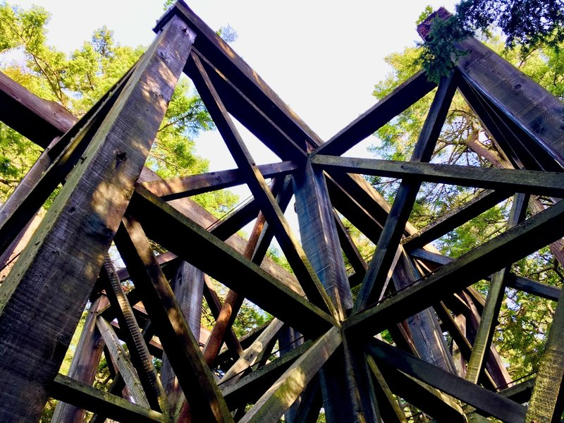 Looking up the beams of the water tower.