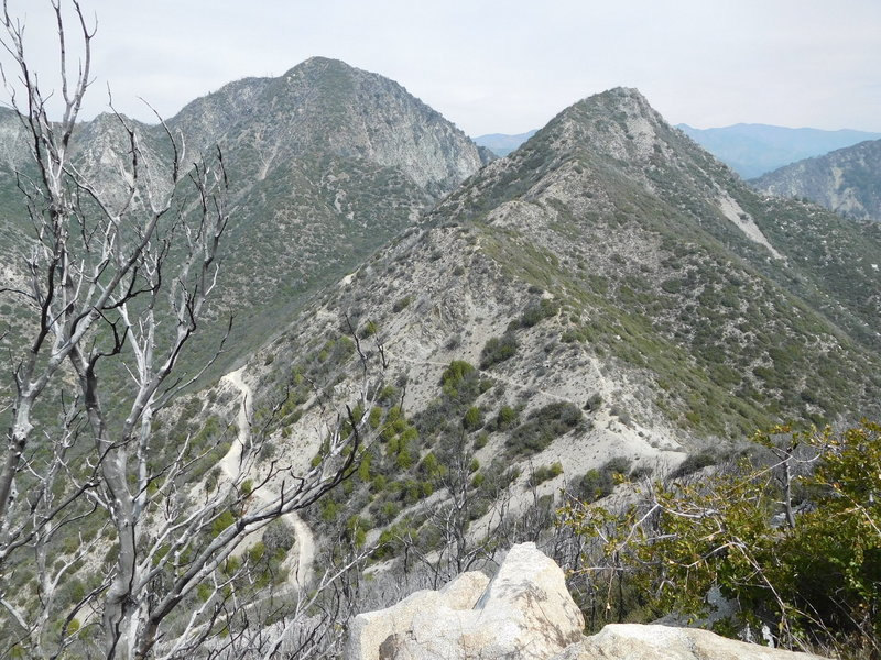 San Gabriel Peak (left) and Mt. Markam (right) with Upper Sam Merrill Trail.