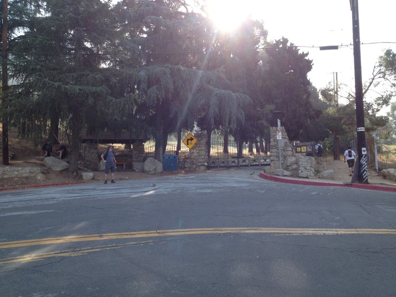The is the start of the Lower Sam Merrill trail at the corner of Lake and Loma Alta.