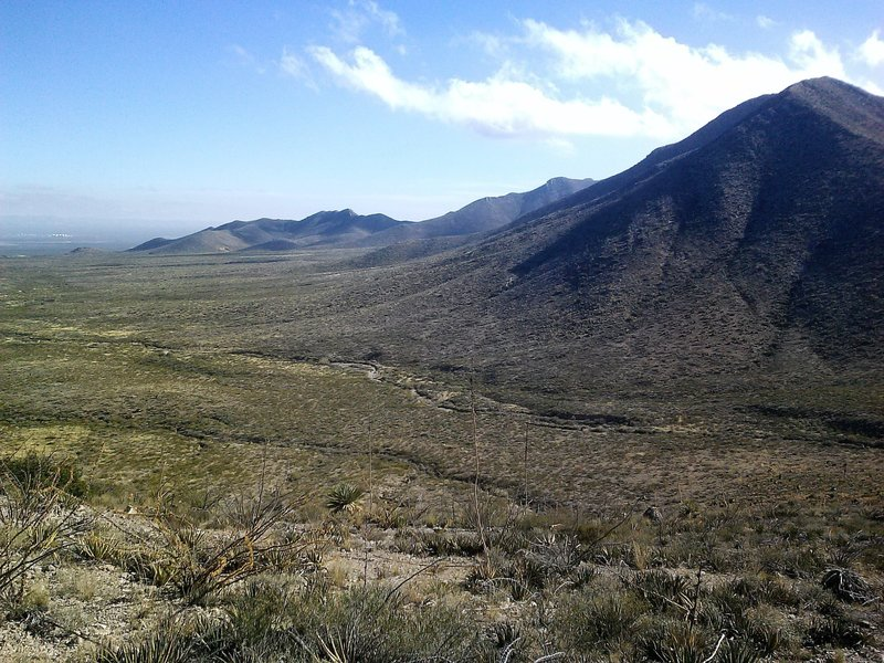 View of  Franklin Mountains from the trail