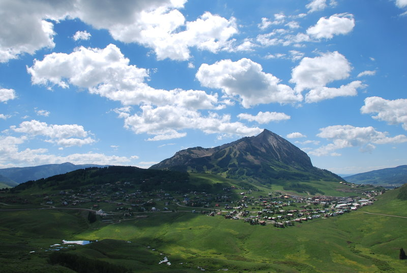 The view of Mt. Crested Butte from one of the scenic overlooks on the Snodgrass Trail.