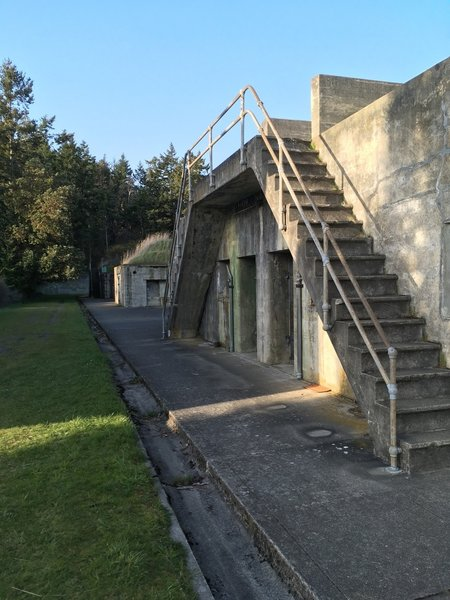 Stairs up to the top of the battery.