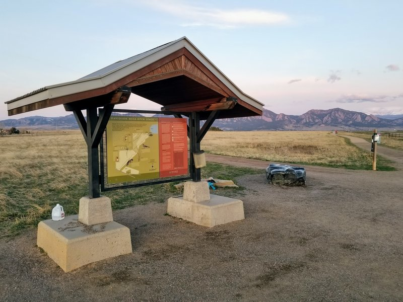 The trailhead sign and map, with the flatirons in the background.