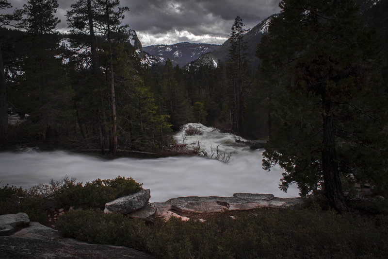 Cascade Viewpoint during flooding period. Looking out towards Lover's Leap and Western Sierra.