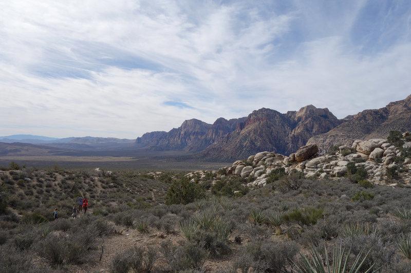 Hikers set off clockwise on the White Rocks Loop