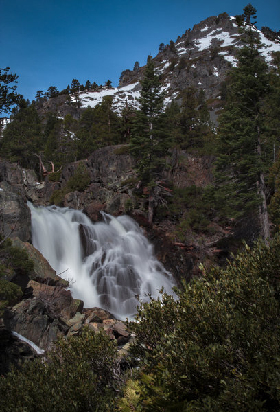 Glen Alpine Falls during near-peak flow with the southwest face of Mount Tallac in the background.