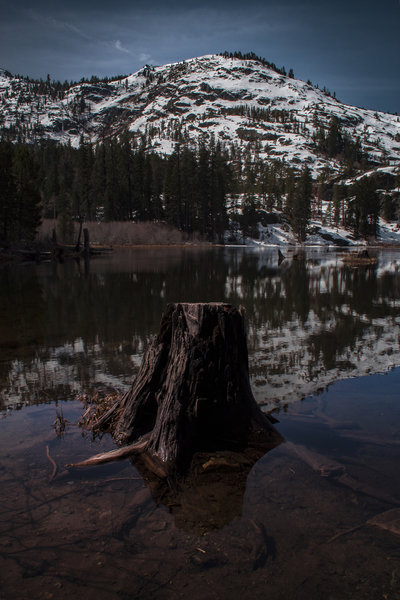 Lily Lake looking out to Keith's Dome, hazy early afternoon. Taken at Glen Alpine Trailhead.