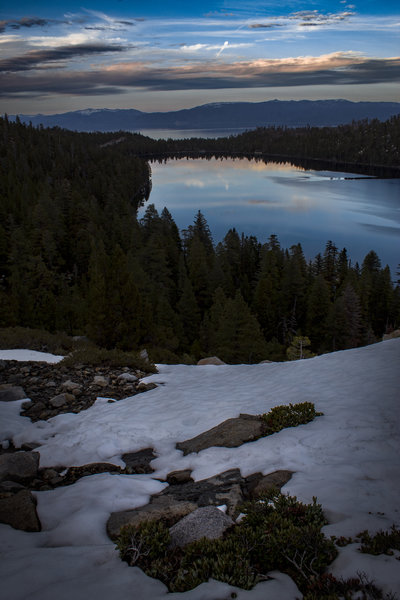 Looking out at Cascade Lake and Lake Tahoe shortly before sunset.