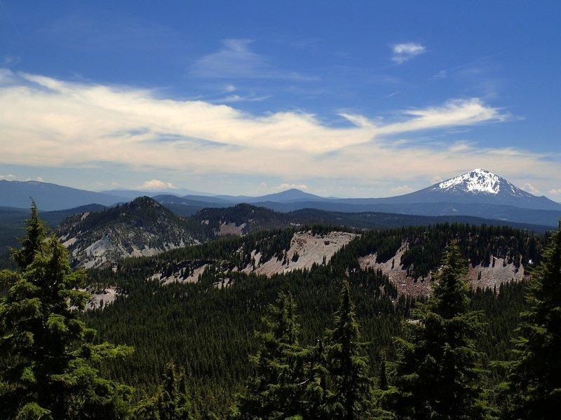 Looking south toward Mount Shasta on the horizon and Mount McLoughlin on the right