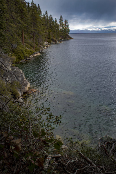 Looking north, coastline of Lake Tahoe from western portion of Rubicon Trail.