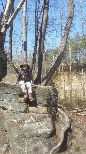 My son climbing the rocks.