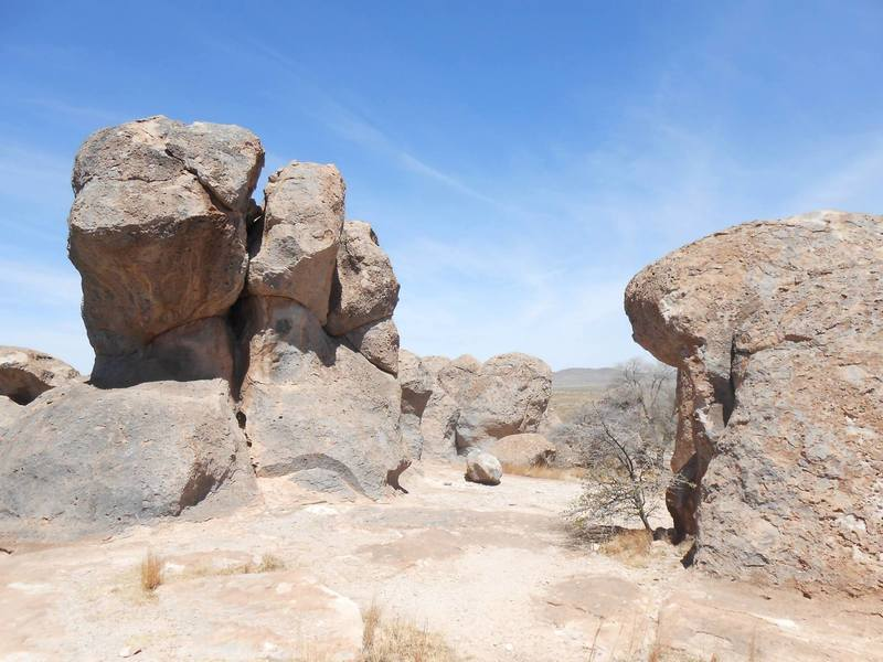 Walking between the boulders