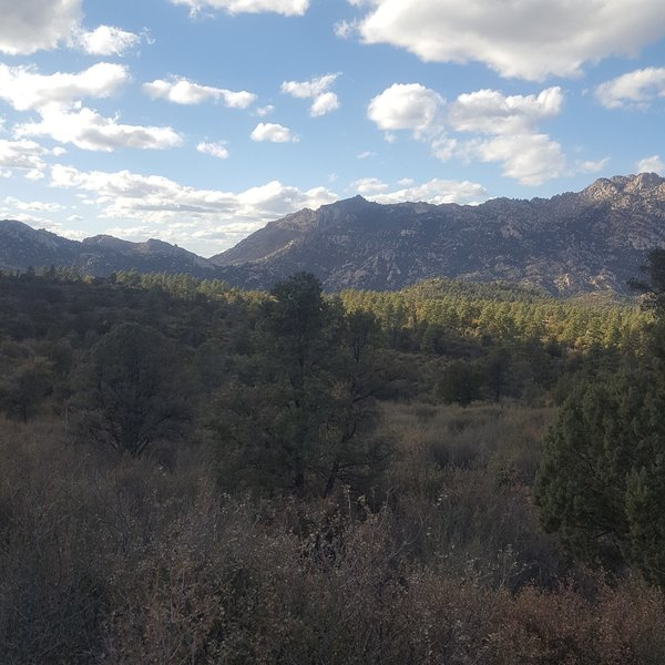 View of Granite Mountain from the drive to the trailhead