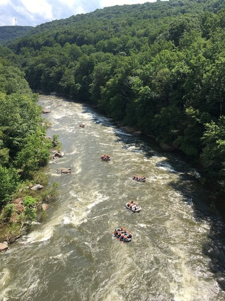 View of the Youghiogheny River from the Ohiopyle High Bridge, along the Great Allegheny Passage near Ohiopyle, Pa.