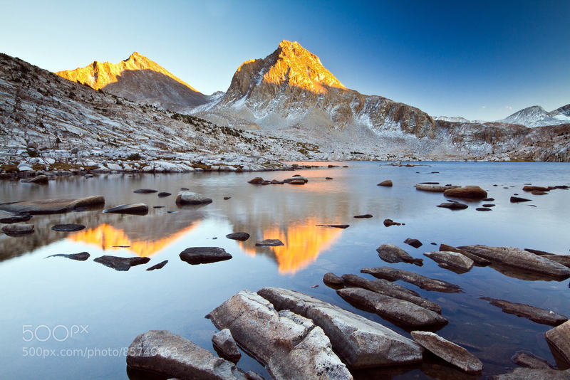 Sapphire Lake: Sunset on Mt. Huxley and Mt. Fisk above Sapphire Lake in the Evolution Basin, High Sierra, California.