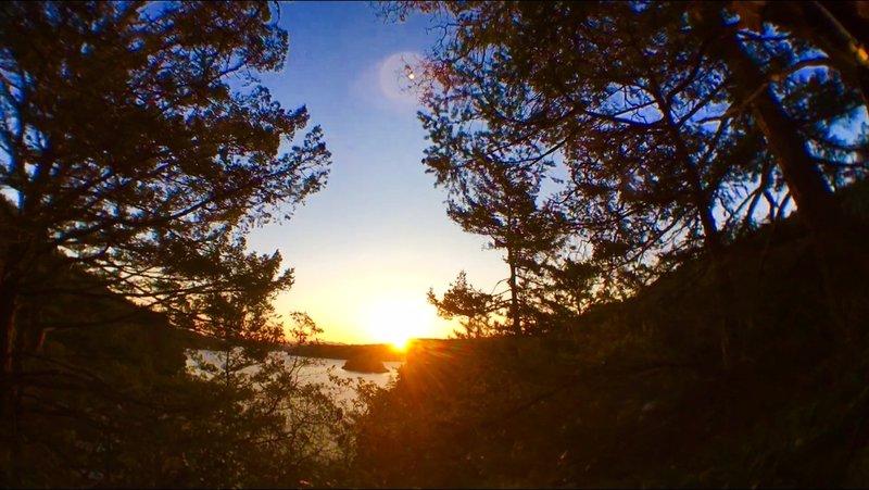 Sunrise over the island.
