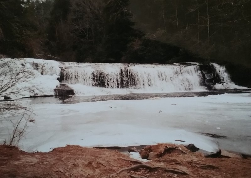 View of  the falls in winter.