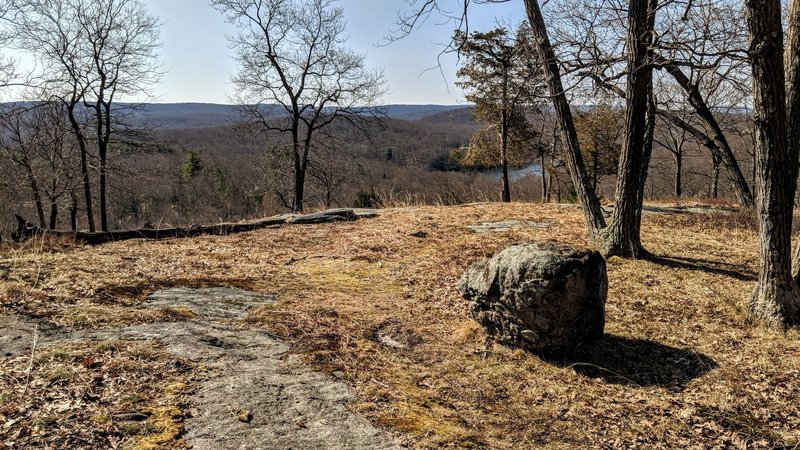 A distant, early spring glimpse of Little Long Pond just off Dunning Trail in Harriman State Park