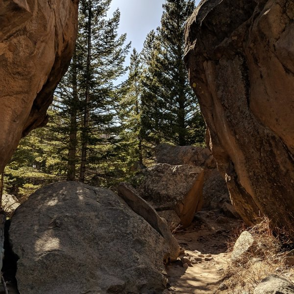 Trail passes through these huge rocks