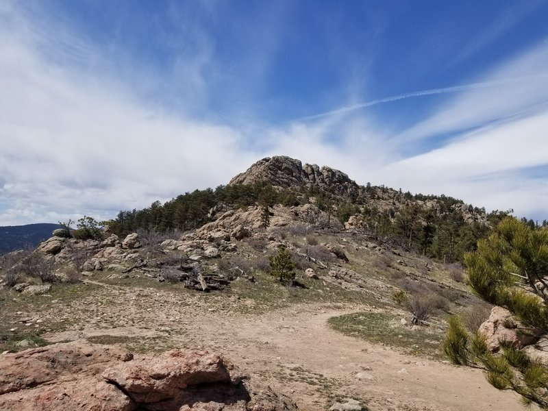 View of Horsetooth Rock from about 0.75 miles southeast. This is the trail leading to the top.