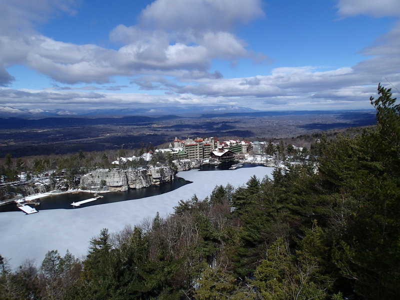 Mohonk Mountain House on the descent