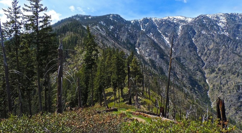Looking back up at the upper Icicle Ridge.