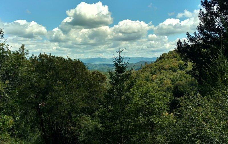 The Diablo Range in the far distance across Santa Clara Valley, comes into view beyond Santa Cruz Mountains as one climbs Knobcone Trail.