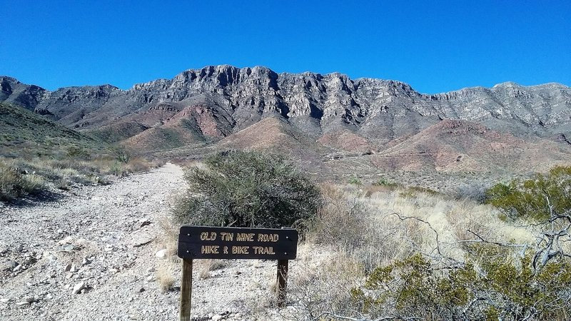 About midway on the trail and view of the Franklin Mountains.