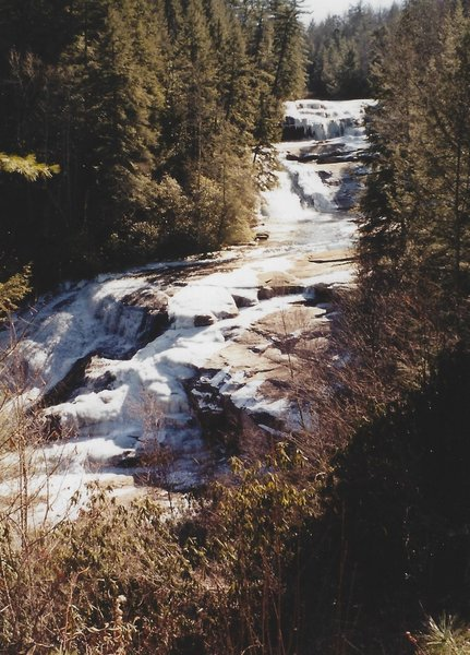 View of Triple Falls in the winter