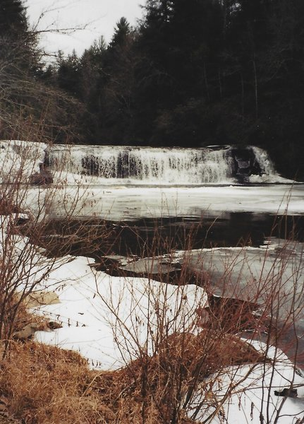View of Hooker Falls in the winter