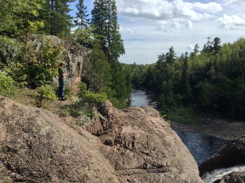 Standing at the High Falls on the Superior Hiking Trail on a sun-drenched rocky outcropping - facing South toward the mouth of the Baptism River in September, 2013.