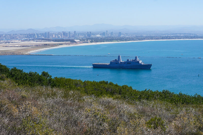 Bayside Trail is a great place to rest and view the local navy fleet with many ships, subs, jets, and helicopters frequenting the skies and waterways.