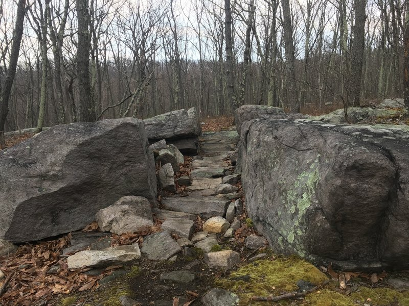 Narrow path built out of rocks