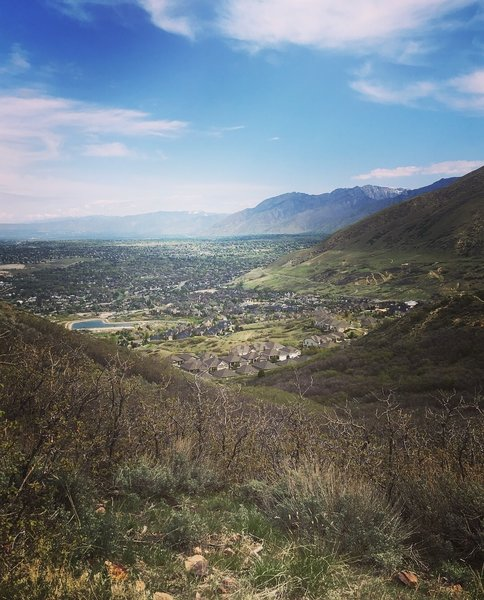 This is a spot on the Potato Hill Trail overlooking Draper and the Salt Lake Valley. Very beautiful hike, just watch out for bikes!