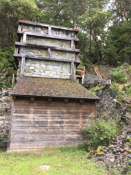 The lime kiln as it is in the process of being restored.