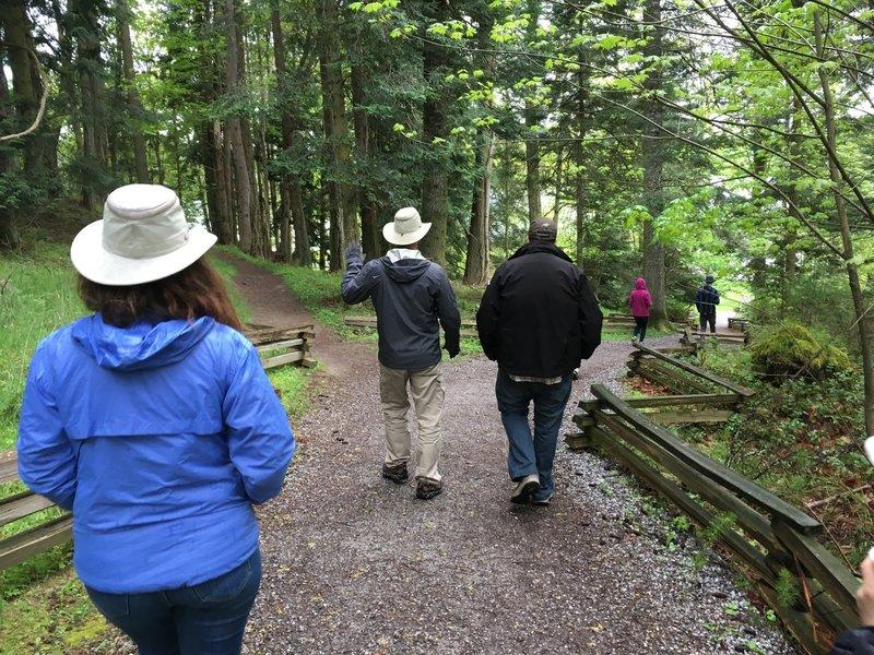 Walking down the trail.
