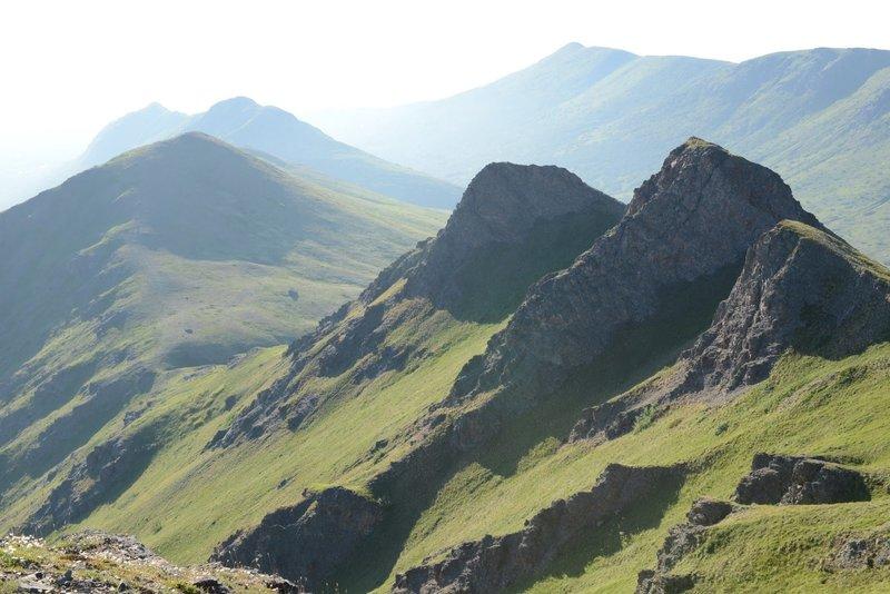Tucker Mountain summit looking west at the ridgeline