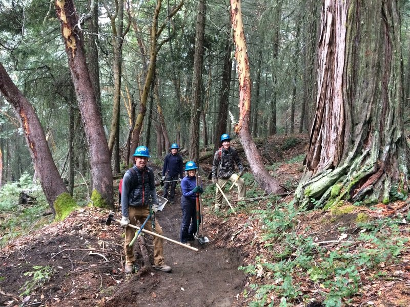 AWTA trail workers finishing up work and posing next to large cedar.