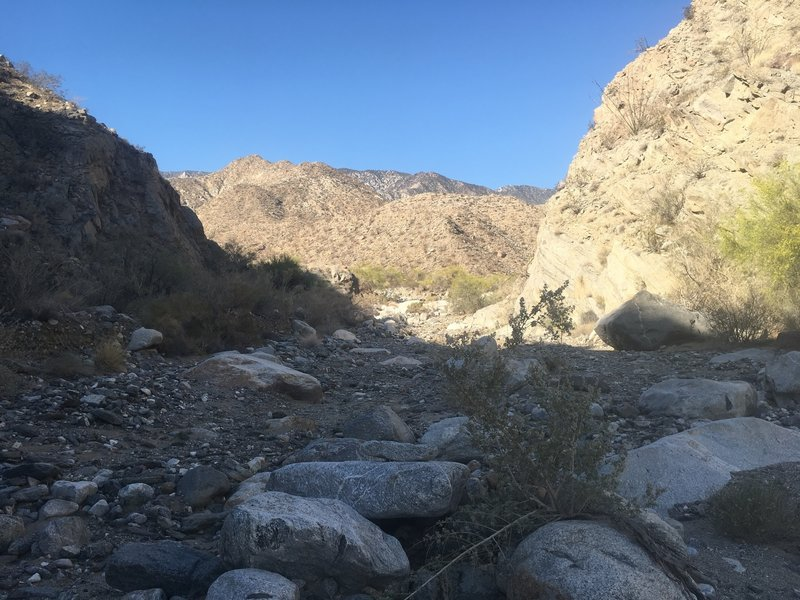 Canyon starts to narrow.