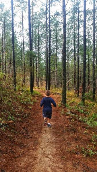 Kid on trail
