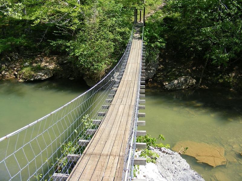 Suspension bridge over Smokey Creek