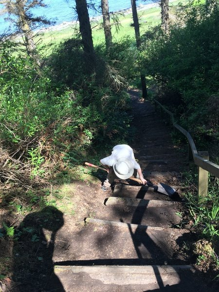 Doing some trail work on the stairs to the beach.