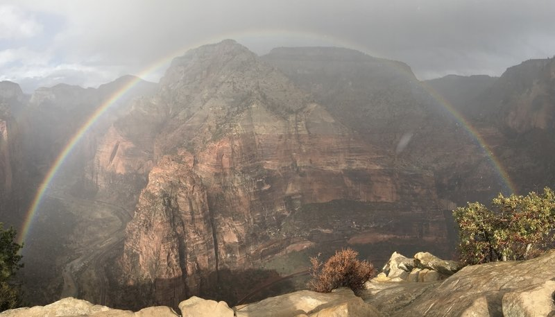 View of Observation Point from Angels Landing with a little heavenly enhancement
