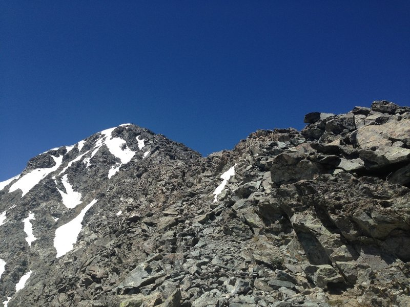 Looking back up Kelso Ridge and lots of loose rock.