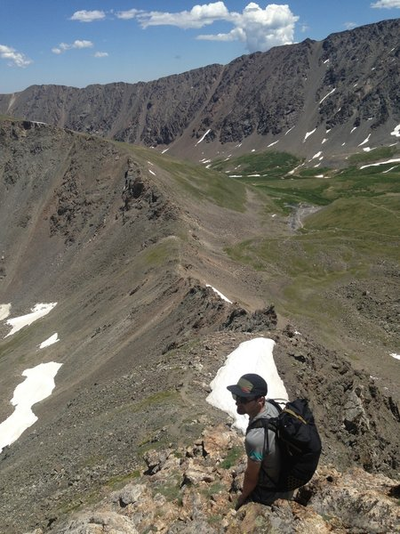 Continuing down Kelso Ridge with the trail through the meadow visible in the righthand side background.
