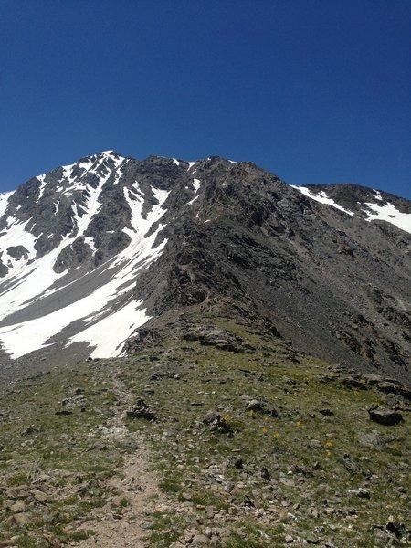 Looking back up the exhilarating Kelso Ridge toward Torreys.