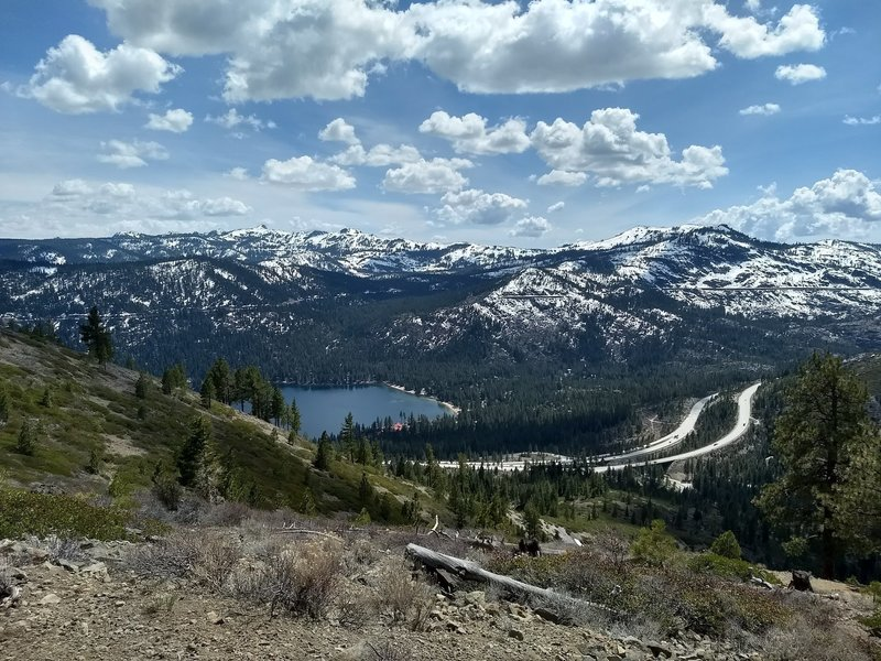 View of Donner Lake from the top of Glacier Way trail