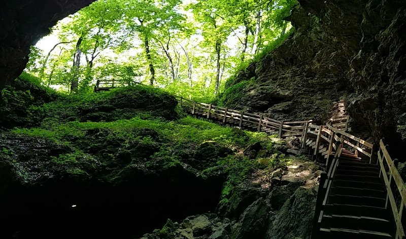 The stairs leading down to Dance Hall cave at Maquoketa Caves State Park near Maquoketa.