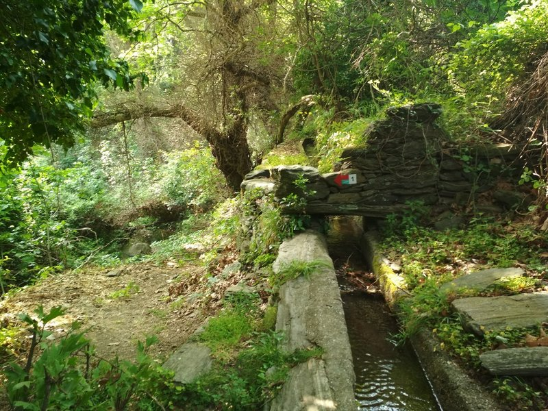 the watermills drain, on the path leaving Menites Village