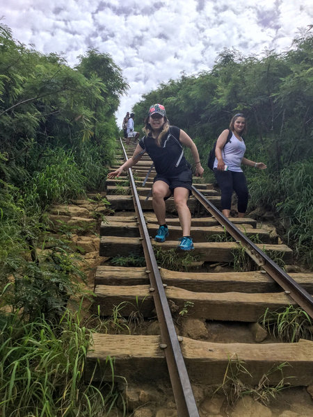 Hiking down the steep railroad ties is even more difficult.